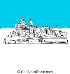 Valetta, Malta Panorama, Blue Series, Hand-drawn Vector...