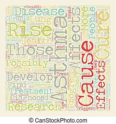 The Latest Asthma Research text background wordcloud concept