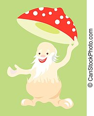 Jolly old man fly agaric mushroom takes off his hat in...