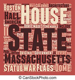 The Massachsetts State House text background wordcloud...