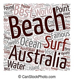 The Most Beautiful Beaches In Australia text background wordcloud concept