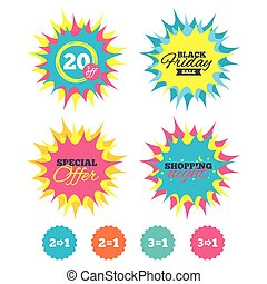 Special offer icons. Take two pay for one sign. - Shopping...