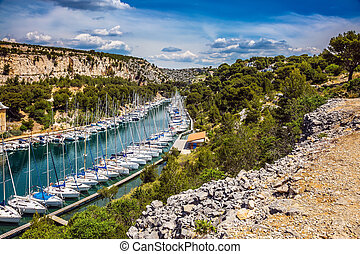 The sailboats moored in rows - Calanque National Park -...
