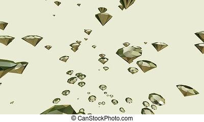 Flying gems on white