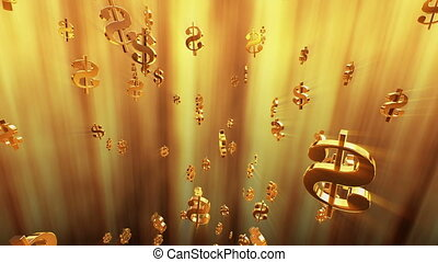 Flying dollar signs in golden color