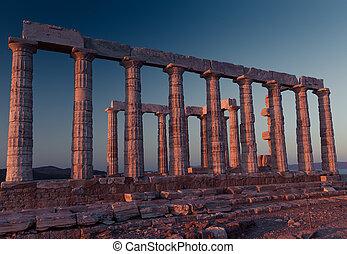 Poseidon,  Sounion, ocaso, capa, Ruinas, templo