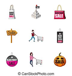 Large discounts icons set, cartoon style - Large discounts...