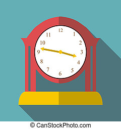 Table clock icon, flat style - Table clock icon. Flat...