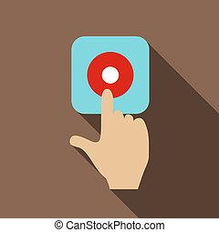 Alarm button icon, flat style - Alarm button icon. Flat...