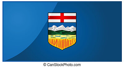 Flag of Alberta - Glossy illustration of the flag of the...