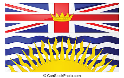 Flag of British Columbia - Glossy illustration of the flag...