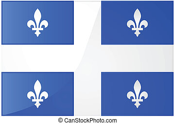 Flag of Quebec - Glossy illustration of the flag of the...