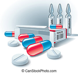 Pills, tablets, box and ampoules on white background. Vector Illustration.