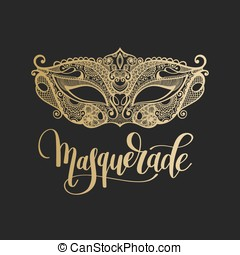 gold venetian carnival mask with hand lettering isolated on...