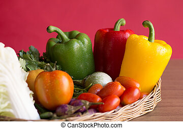 Peppers - Group of bell peppers vegetable in the vintage...