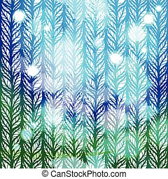 Gradient blue and green abstract pattern with hand drawn stylized doodle leaves