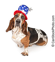 Basset Hound Dog Wearing Independence Day Hat - Basset Hound...