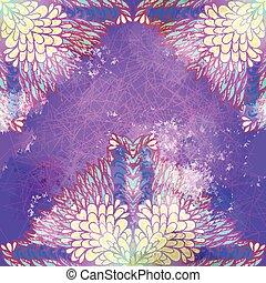 Hand drawn ethnic floral grunge violet and blue lavender...