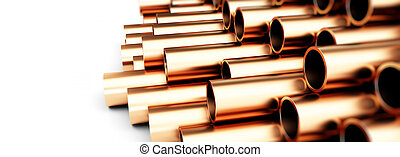 copper metal pipe 3d Illustrations