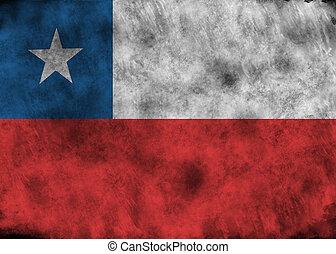 Grunge Chile flag. - Illustration - flag of Chile on vintage...