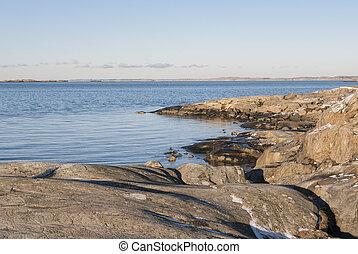 Rocks by the sea in winter