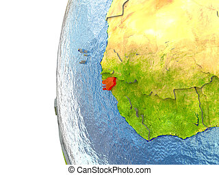 Guinea-Bissau in red on a globe with reflective ocean...