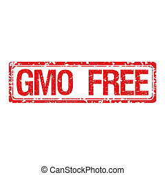 Rubber stamp with text GMO free