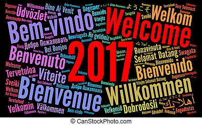 Welcome 2017 word cloud in different languages