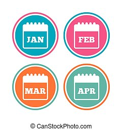 Calendar. January, February, March and April. - Calendar...