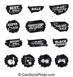 Bowling and Casino signs. Video game joystick. - Ink brush...