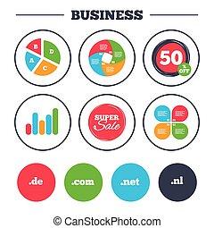 Top-level domains signs. De, Com, Net and Nl. - Business pie...