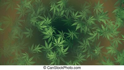 Green hemp leaves