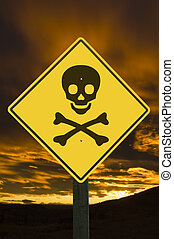 Danger sign. - Yellow traffic sign with skull and...