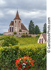 Fortified Church in Hunawihr, Alsace, France