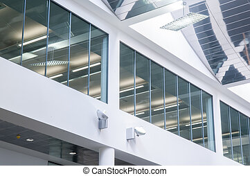 Glass windows in a modern and contemporary office building