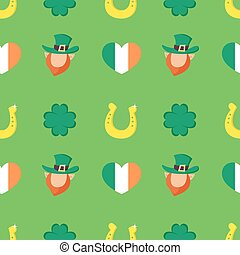 Vector seamless pattern with Four-leaf clover, golden horseshoe, heart shaped flag of Ireland and Leprechaun.