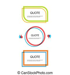 Set of quote text bubbles. Quote blank template.