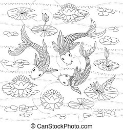Vector monochrome illustration of japanese koi for coloring...