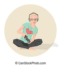 Vector illustration of a cute blond geek girl playing video games.