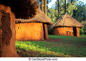 Traditional, tribal village of Kenyan people - Traditional,...