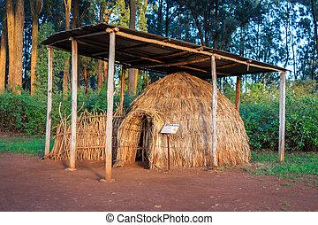 Turkana tribe hut in Kenyan open-air museum, East Africa -...