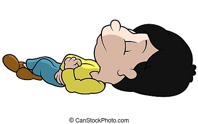 Sleeping Boy on a Ground - Cartoon Illustration, Vector