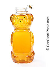 Honey in Bear Bottle with a Flying Bee - Honey in a bottle...