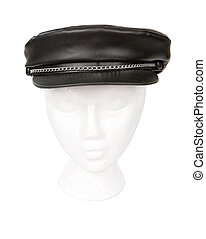Black leather biker hat