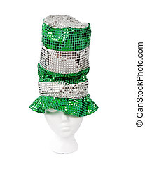 Tall green and silver sequin Irish hat with clipping path -...