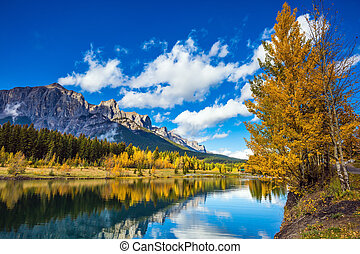 The Canadian Rockies, Canmore - Concept hiking. The lake,...