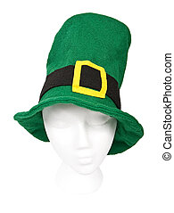 Tall green St. Patricks Day hat with clipping path - Tall...
