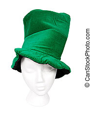 Tall green Irish hat with clipping path - Tall crooked green...
