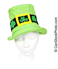 Light green Irish hat with shamrocks - Tall light green St....
