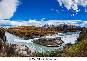 Cascading waterfalls - Chile, Patagonia, Paine Cascades....
